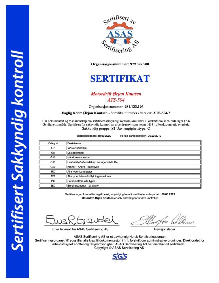 Sertifikat sakkyndig Motordrift Ørjan Knutsen ATS-504 18-09-2020